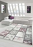 Edler Designer Teppich Moderner Teppich Wohnzimmer Teppich Patchwork Vintage Meliert Karo Muster in Lila Creme Grau Rosa Schwarz Größe 200 x 290 cm