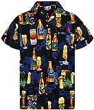V.H.O. Funky Hawaiihemd, Kurzarm, Bierflaschen, schwarz, XL