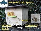 Qualität aus Niederbayern ARBRIKADREX XXL Hummelkasten mit Wachsmottensperre, 2X Sichtfenster und Nistmaterial Imprägniert Wetterfest Bienenhaus Hummelhaus Nistkasten Hummelvilla Bienen Insektenhaus