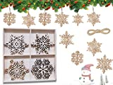 HIQE-FL 12 Stück Holz Christbaumschmuck,Weihnachtsanhänger Holz,Weihnachtsbaum Deko Holz,Scrapbooking Holz Deko Weihnachten