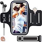 VGUARD Sportarmband Handy,Schweißfest Handytasche Laufen mit Schlüsselhalter, Kopfhörerloch und Verlängerungsband für iPhone SE(2020)/ iPhone 11/11 Pro/iPhone XS/XR- Schwarz (5'-6,5')