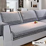 Z-one Sofa Abdeckung Retro Dekoration Sofa Überwurf Baumwolle Anti-rutsch Schmutzabweisend Kissen beschützer Für L förmige- Couch Schnitt-grau 70x150cm(28x59inch)