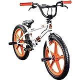 deTOX BMX 20 Zoll Rude Skyway Freestyle Bike Street Park Fahrrad viele Farben (weiß/orange)