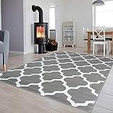 Tapiso Luxury Teppich Kurzflor Modern Marokkanisch Geometrisch Kleeblatt Gitter Muster Hellgrau Weiss Wohnzimmer ÖKOTEX 200 x 300 cm