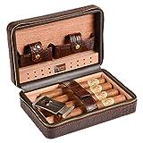 Volenx Zigarren Humidor Leder mit Zigarrenschneider - Hält bis zu 4 Zigarren(braun)
