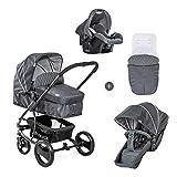 Hauck Pacific 4 Shop N Drive Kombikinderwagen 6 teilig bis 25 kg + Babyschale + Babywanne umbaubar zur wendbaren Sitzeinheit mit Beindecke, leicht, extra große Räder, melange charcoal (grau)