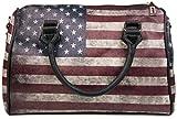 styleBREAKER USA Vintage Handtasche im Stars & Stripes Design, Bowling Tasche, Henkeltasche, Damen 02012014, Modell-2 / Schwarz / mit Abnehmbarem Trageriemen, Einheitsgröße