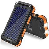Suscell Solar PowerBank 25000mAh, Solar Ladegerät und Externe Ersatzbatterie, Zwei 5V USB-Ausgänge, Taschenlampe mit 2 LEDs, wasserdicht, mit Kompass, für Smartphones, Outdoor-Aktivitäten