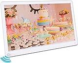 MELCAM Digitaler Bilderrahmen 15 Zoll Elektronischer Fotorahmen mit Bewegungssensor 1920 * 1080IPS Bildschirm Video/Musik/Foto Player mit Kalendar Wecker Diashow, mit Fernbedienung