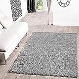 T&T Design Shaggy Teppich Hochflor Langflor Teppiche Wohnzimmer Preishammer versch. Farben, Größe:230x320 cm, Farbe:Grau