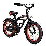 BIKESTAR Kinderfahrrad für Jungen ab 4-5 Jahre | 16 Zoll Kinderrad Cruiser | Fahrrad für Kinder Schwarz (matt) | Risikofrei Testen