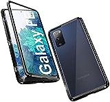 Hülle für Samsung Galaxy S20 FE 5G Handyhülle 360 Grad Schutz Magnetische Adsorption Ultra dünn Metallrahmen Schutzhülle Vorne und Hinten Transparent Gehärtetem Glas Schutz Flip Cover, Schwarz