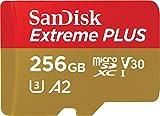 SanDisk Extreme Plus 256GB microSDXC Class 10 Speicherkarte mit SD-Adapter, Gold/Rot