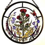 Celtic Glass Designs Dekorativer handbemalter Sonnenfänger, Glasmalerei mit schottischem Blumen-Motiv