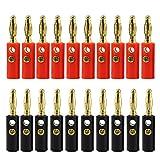 KEESIN 10 Paare Bananen Stecker Gold Überzogener 4mm Audio Lautsprecher Draht Kabel Verbindungsstück (Tippe A)
