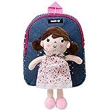 COOLDOT Plüschrucksack Süßes Spielzeug Kleinkind Tasche mit Abnehmbarer Stoffpuppe tolle Geschenkidee für Mädchen ab 3 Jahren