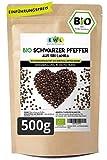 Schwarzer Pfeffer Bio Ganze Pfefferkörner schwarz Ceylon Pfeffer in kontrollierter Bio Qualität aus Sri Lanka Pfeffermühlen geeignet Abgefüllt und kontrolliert in Deutschland Bio Gewürz