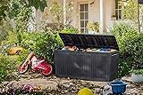 Koll Living Auflagenbox/Kissenbox 270 Liter Farbe : Graphit l 100% Wasserdicht l mit Belüftung dadurch kein übler Geruch/Schimmel l Moderne Holzoptik l Deckel belastbar bis 250 KG (2 Personen)