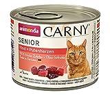 animonda Katzenfutter Carny Senior, Nassfutter für Katzen ab 7 Jahren,  Rind + Putenherzen, 6 x 200 g