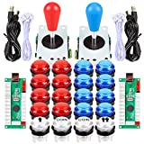 EG STARTS 2 Spieler LED Arcade DIY Teile 2X USB Encoder + 2X Ellipse Oval Style Joystick + 20x LED Arcade Tasten für PC MAME Raspberry Pi Windows System (Rote & Blaue Kit)
