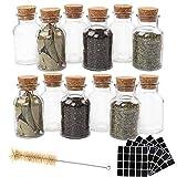 CDWERD 12 Stück 150ml Glas Gewürzdosen Wiederverwendbare Gewürzgläser Hochwertiger Kork mit 100 Stück Leeren Quadratischen Aufkleber 1 Stück Reinigungsbürste für Tee Kräuter Gewürze und Tischdekor