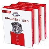 Avery Zweckform 2575 Druckerpapier, Kopierpapier (1.500 Blatt, 80 g/m², DIN A4 Papier, weiß, für alle Drucker) 1 Box mit 3 Pack