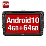 Vanku Android 10 Autoradio für VW Golf 5 6 Radio 4GB+64GB PX6 mit Navi CD DVD Unterstützt Bluetooth 5.0 DAB + WiFi 4G USB MicroSD 8 Zoll IPS Bildschirm 2 Din