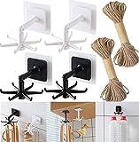 Svnaokr 4 Stück 360 ° Drehbarer Klapphaken Mit 20M Natürliches Seil, Haken küchenleiste, Selbstklebende Wandhalterung Für Küchenutensilien,6-Backen-Aufbewahrungshaken Platzsparend Für Küche