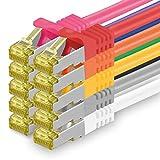 Cat.7 Netzwerkkabel 0,5m 10 Farben 10 Stück Cat7 Ethernetkabel Netzwerk LAN Kabel Rohkabel 10 Gb s SFTP PIMF LSZH Set Patchkabel mit Rj 45 Stecker Cat.6a