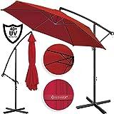 Kesser® Alu Ampelschirm Ø 350 cm mit Kurbelvorrichtung UV-Schutz Aluminium Wasserabweisende Bespannung - Sonnenschirm Schirm Gartenschirm Marktschirm Rot