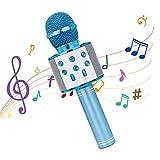 Karaoke Mikrofon, Drahtloses Mikrofon Bluetooth mit Lautsprecher, Tragbares Handmikrofon für Erwachsene und Kinder, Kompatibel mit Android/IOS/PC(Blau)