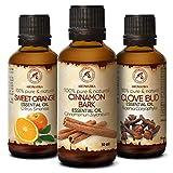 Ätherische Öle Set - Zimtrindenöl 50ml - Orangenöl 50ml - Gewürznelkenöl 50ml - Geschenk Set für Luftbefeuchter - Körperpflege - Aromatherapie - Duftlampe - Diffuser - Weinachten - Sauna - Gute Laune