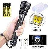 LED Taschenlampe Extrem Hell 5000 Lumens Zoombar(Mit 18650 Akku), ShineTool USB Aufladbar Hohe Leuchtkraft XHP70 Taschenlampen, IPX65 Wasserdichte 3 Modi für Camping, Wandern, Notfall