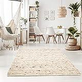 Taracarpet Handweb-Teppich Oslo Wolle im Skandinavischem Landhaus Design Wohnzimmer Esszimmer Schlafzimmer Flur Läufer beidseitig verwendbar 120x170 cm Sand Multi