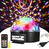 Discokugel, SOLMORE LED Discokugel Kinder Partylicht Disco Lichteffekte 18x18x15CM mit Fernbedienung Discolicht Projektor Beleuchtung für Party Wohnzimmer Feier Karaoke Geburtstag Weihnachten Deko