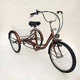 MINUS ONE Dreirad Für Erwachsene Erwachsenen Dreirad Fahrrad Mit 3 Rädern Seniorenrad Lastenfahrrad 24' 6-Gang-Schaltung Shimano (Golden mit Lichtern)