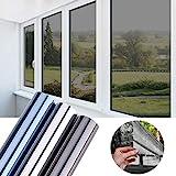 Glasfolie selbstklebend Fensterfolie One-Way Hitzeschutzfolie 45X200CM Sonnenschutzfolie Spiegelfolie reflektierende Selbstklebefolie Glasfolie UV-Schutz Folie Sichtschutz Wärmeisolierung Schwarzgrau