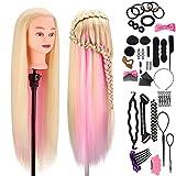 Frisierkopf für Frisöre, MYSWEETY 100% Synthetisches Haar Trainingskopf für Kinder Training Frisur Salon, Blond-Rosa Steigung 73.6cm, mit Zubehör & Klemme #22
