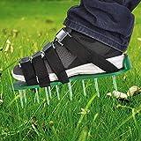 TIMESETL Rasenbelüftungsschuhe Rasenlüfter Schuhe mit 4 Verstellbare Gurte, Rasenbelüfter Nagelschuhe mit 5cm Nägel für Garten Hof - Grün