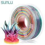 SUNLU Rainbow PLA Filament 1.75mm 3D Printer Rainbow Filament, Multicolor PLA Filament for 3D Printers and 3D Pens,1kg per Spool