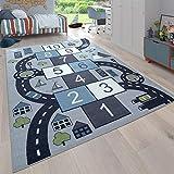 Paco Home Kinder-Teppich, Spiel-Teppich Für Kinderzimmer, Hüpfkästchen und Straßen, Grau, Grösse:200x290 cm