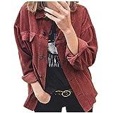 Inawayls Classics Kordjacke Damen Jacke Leichte Corduroy Vintage Kurzjacke Lange Ärmel Outwear Winter Frühling Herbst mit Knöpfen