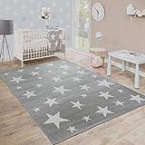 Paco Home Moderner Kurzflor Kinderteppich Sternendesign Kinderzimmer Star Muster Grau Weiß, Grösse:80x150 cm