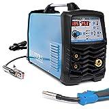 IPOTOOLS MIG-185SYN Inverter Schweißgerät MIG MAG - Schutzgas Schweissgerät mit 185 Ampere/Synergic Funktion/Fülldraht und Elektroden geeignet/MMA E-Hand/Digitalanzeige/IGBT Technologie / 230V / Blau