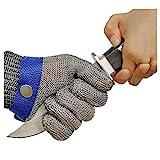 OKAWADACH Schnittschutz Handschuhe, Schnittschutzhandschuhe Edelstahl-Metal Mesh Metzgerhandschuh mit,Schutzgrad 5 (M)
