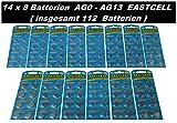 Set AG0-AG13 (14 Blistercards a 8 Batterien je AG0,AG1,AG2,AG3,AG4,AG5,AG6,AG7,AG8,AG9,AG10,AG11,AG12,AG13) EINWEG EASTCELL