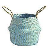 Oksea Baskets für die Lagerung Woven Tote Bauchkorb Seilkorb für Spielzeug Magazin Bücher Decke Protokolle Pot Plant Cover Jute Korb mit Griffen Treppenkörbe (A)