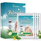 MayBeau Fußmaske 4 Paar Hornhaut Socken zu Entfernung Exfoliating Fußpflege Set mit Gurke Duft Fuß Hornhautentferner Fuß Peeling Maske Erhalten Samtweiche Babyfüße in 2-7 Tagen