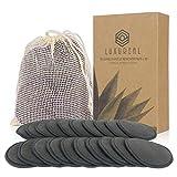 Luxureal Abschminkpads Waschbar, 20 Stück Wiederverwendbare Wattepads mit Netz-Wäschesack für Alle Hauttypen