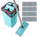 Kalokelvin Bodenwischer, Wischer Set Wischsystem Wischmopp Clean Komplettset, Flach Wischmop & Eimer mit 2 Kammer, 4 Mikrofasertuch - Blau